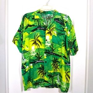 Tropical Button Front Shirt Large